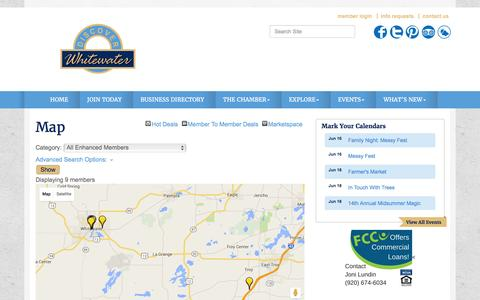 Screenshot of Maps & Directions Page whitewaterchamber.com - Map - Whitewater Chamber of Commerce, WI - captured June 16, 2016