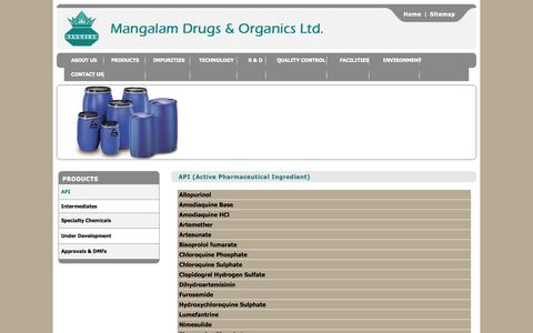 Screenshot of Products Page mangalamdrugs.com - Mangalam Drugs & Organics Ltd. - Active Pharmaceutical Ingredient (API) - captured Oct. 4, 2014