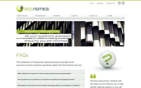 Screenshot of FAQ Page eco-nomics.co.uk - Eco-Nomics | Helping you reduce operating costs and energy consumption - captured Oct. 1, 2014