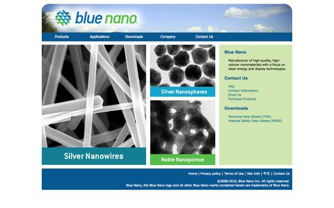 Screenshot of Home Page bluenanoinc.com - Blue Nano   Nanomaterials & Clean Energy Products - captured Oct. 5, 2014
