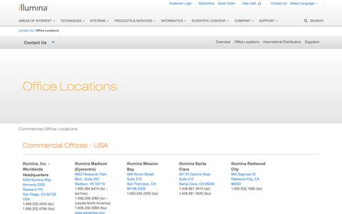 Screenshot of Locations Page illumina.com - Office Locations | Contact information - captured Nov. 17, 2015