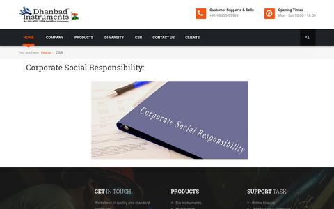 Screenshot of Press Page dhanbadinstruments.com - CSR - captured Jan. 7, 2016