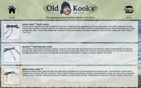 Screenshot of Menu Page oldkook.com - Shoelaces, Boot Laces, Shoe Laces, Bootlaces. The strongest, most 		durable and most comfortable shoelaces, boot laces, surf leash cords and more. 		OldKook's (TM) Products. Guaranteed to outlast anything you put them 		on! - captured Dec. 6, 2016