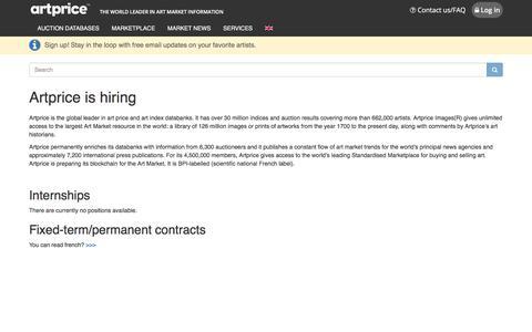 Screenshot of Jobs Page artprice.com - artprice.com, the world leader in Art market information - captured Sept. 21, 2018