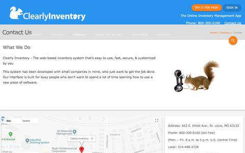 Screenshot of Contact Page clearlyinventory.com - Contact Us - Clearly Inventory - captured July 18, 2018