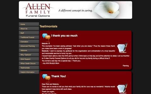 Screenshot of Testimonials Page affoplano.com - Allen Funeral Options - View our Testimonials | Allen Family Funeral Options - captured Oct. 4, 2014
