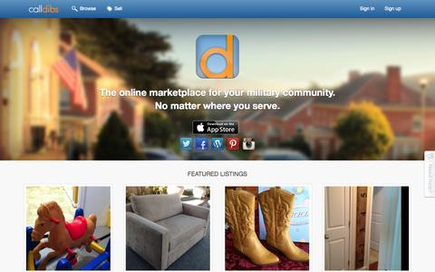 Screenshot of Home Page calldibsapp.com - Call Dibs community marketplace - captured Sept. 12, 2015