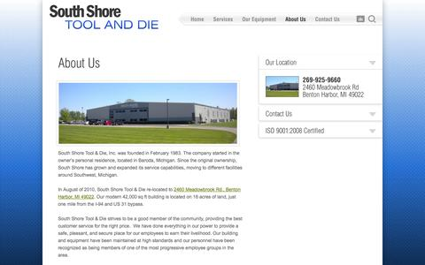 Screenshot of About Page sstd.net - About Us | South Shore Tool & Die - captured Oct. 9, 2014