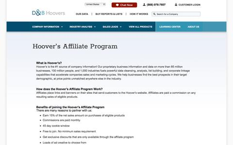 Hoovers' Affiliate Program | Lead Building Services