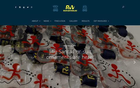 Screenshot of Home Page runwaterloo.com - Homepage - RunWaterloo - captured Nov. 16, 2018