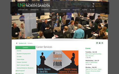 Screenshot of Jobs Page und.edu - Career Services   Careers   Student Life   UND: University of North Dakota - captured Jan. 25, 2016