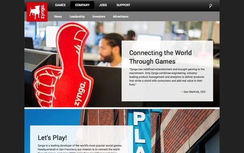 Screenshot of About Page zynga.com - About Zynga | Zynga - captured Sept. 17, 2014
