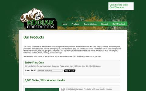 Screenshot of Products Page kodiakfirestarters.com - Our Products | Kodiak Magnesium Firestarters - captured Oct. 6, 2014