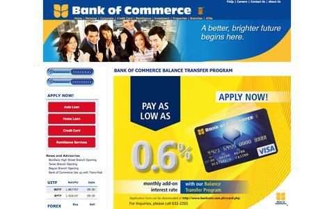 Screenshot of Home Page bankcom.com.ph - Bank of Commerce Website - captured Oct. 5, 2014