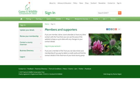 Screenshot of Login Page gwct.org.uk - Sign In - Game and Wildlife Conservation Trust - captured July 14, 2017