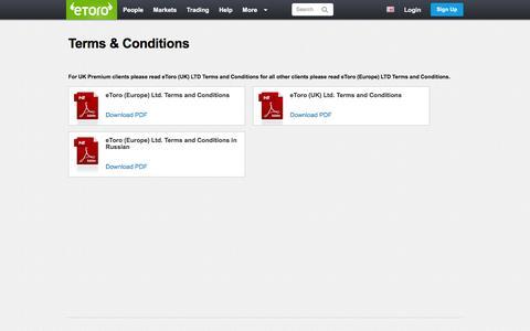 Screenshot of Terms Page etoro.com - Terms & Conditions | eToro - captured June 17, 2016