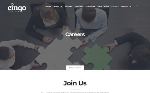 Screenshot of Jobs Page cinqomedia.com - Cinqo Media | Careers - captured July 18, 2018