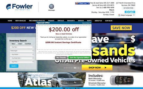 Screenshot of Home Page fowlervw.com - VW dealer serving OKC, Norman, Edmond & Moore, OK | Fowler Volkswagen of Norman - captured Oct. 14, 2017