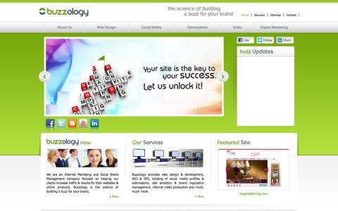 Screenshot of Home Page buzzologynow.com - design,web development,digital marketing,social media management - captured Oct. 5, 2014