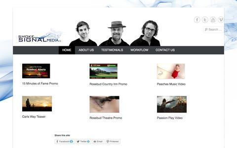 Screenshot of Home Page Menu Page smokesignalmedia.ca - Smoke Signal Media Home - captured Sept. 30, 2014