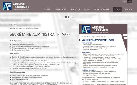 Screenshot of Jobs Page arend-fischbach.lu - Jobs - Arend & Fischbach - captured July 26, 2016