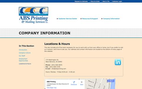 Screenshot of Locations Page absprinting.com - ABS Printing Inc. : Company Information : Locations & Hours - captured Feb. 4, 2016