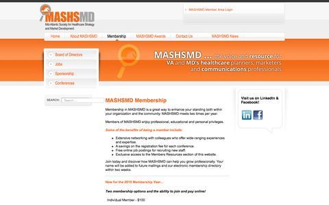 Screenshot of Signup Page mashsmd.com - Membership - captured March 6, 2016