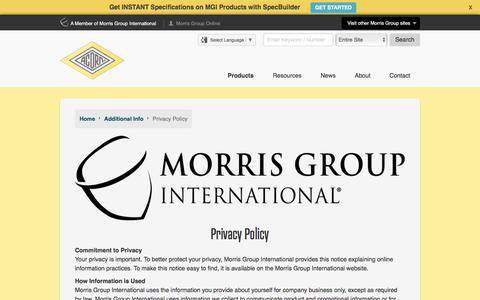 Screenshot of Privacy Page acorneng.com - Acorn Engineering - captured Oct. 7, 2017