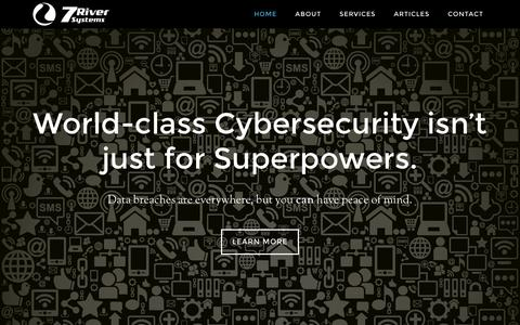 Screenshot of Home Page 7riversys.com - 7 River Systems – Cyber Security and Resilience - captured Feb. 16, 2016