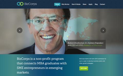 Screenshot of Home Page thebizcorps.org - BizCorps - captured Oct. 5, 2014