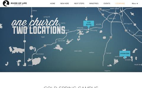 Screenshot of Contact Page Locations Page riveroflifeag.org - River of Life Church | LOCATIONS - captured May 3, 2016