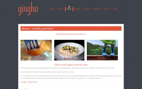 Screenshot of Menu Page gingko.co.za - Gingko's menu-a healthy breakfast & lunch the whole family will adore.www.gingko.co.za - captured Sept. 30, 2014