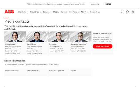 Screenshot of Press Page abb.com - ABB media contacts - captured Nov. 9, 2019