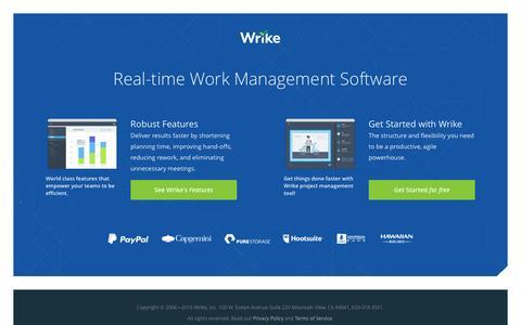 Screenshot of Landing Page wrike.com - Your online project management software tools - Wrike - captured Dec. 14, 2016