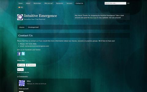 Screenshot of Contact Page wordpress.com - Contact Us | Intuitive Emergence - captured Sept. 12, 2014