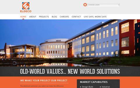Screenshot of Home Page eldecoinc.com - ELDECO | Electrical Contractors | Design & Construction | Since 1972 - captured Dec. 8, 2015