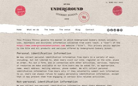 Screenshot of Privacy Page undergroundcookeryschool.com - Privacy Policy - Underground Cookery School - captured Oct. 20, 2018