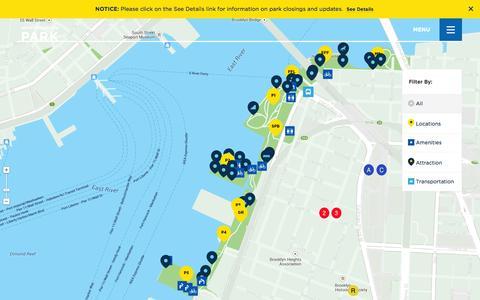 Screenshot of Maps & Directions Page brooklynbridgepark.org - Map - Brooklyn Bridge Park - captured Sept. 19, 2014