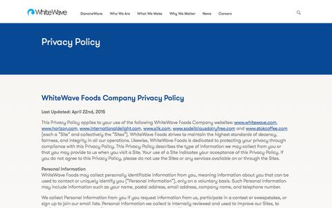 Screenshot of Privacy Page whitewave.com - WhiteWave Foods - captured Jan. 6, 2020