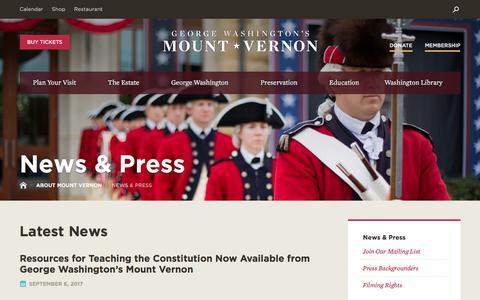 Screenshot of Press Page mountvernon.org - News & Press·George Washington's Mount Vernon - captured Sept. 10, 2017