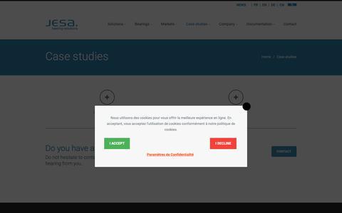 Screenshot of Case Studies Page jesa.com - Case studies - JESA Bearing - captured Oct. 1, 2018
