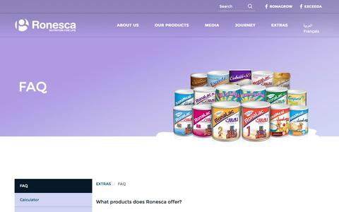 Screenshot of FAQ Page ronesca.com - FAQ | Ronesca Nutrition for life - captured Jan. 5, 2017
