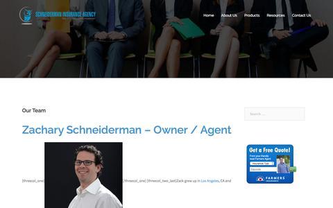 Screenshot of Team Page schneidermaninsurance.com - Our Team - Schneiderman Insurance Agency - captured Oct. 5, 2017