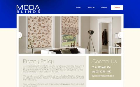 Screenshot of Privacy Page modablinds.co.uk - Contact Us - MODA blinds & shutters, Swindon - captured Feb. 22, 2016