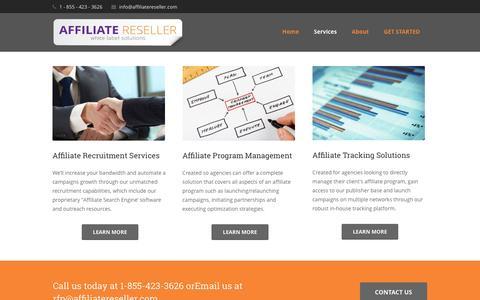 Screenshot of Services Page affiliatereseller.com - Services | Affiliate Program Management Reseller - captured June 9, 2016