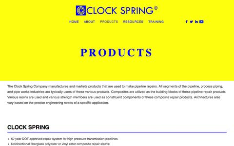 Screenshot of Products Page clockspring.com - Products - captured Jan. 29, 2016