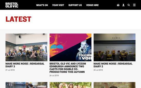 Screenshot of Blog bristololdvic.org.uk - Latest | Bristol Old Vic - captured Aug. 4, 2018