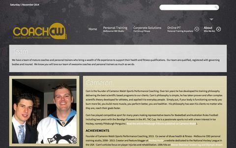 Screenshot of Team Page coachcw.com - Cameron Walsh Sports Performance Coaching - Team - captured Nov. 1, 2014