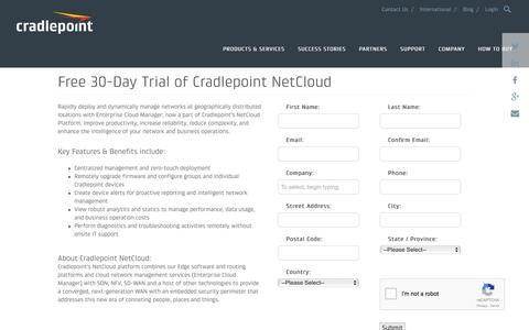 Screenshot of Trial Page cradlepoint.com - Free 30-Day Trial of Cradlepoint NetCloud | Cradlepoint - captured Sept. 9, 2016