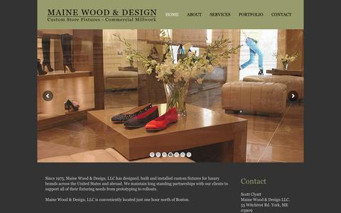 Screenshot of Home Page mwdsgn.com - Maine Wood & Design – High Quality Custom Store Fixtures - captured Feb. 4, 2016